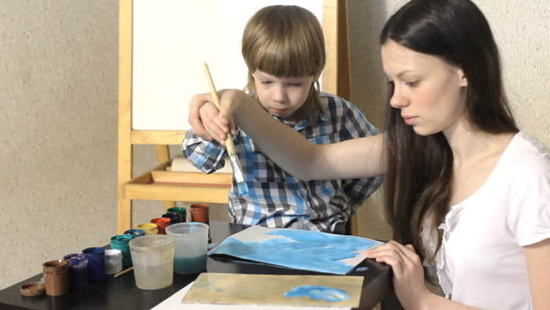 mom and son painting