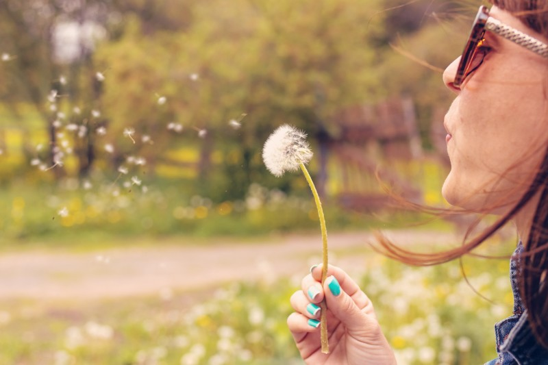 Woman blowing dandelion to symbolize starting over